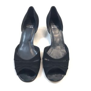 Stuart Weitzman Black Leather Heels Size 7.5 M